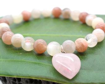 Moonstone Fertility Bracelet - Moonstone Bracelet, Fertility Bracelet, Rose Quartz, Heart, Pregnancy Bracelet, Fertility Jewelry, Childbirth