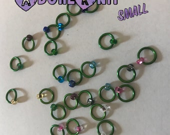 Design YOUR OWN Small Ring Stitch Markers, ring markers, notions, Green Stitch markers, knitting, gift, bracelet, necklace,stitchmarkers