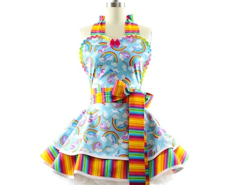 Full Apron - Rainbows + Unicorns Aprons for Women - 50s Inspired Summer Party, BBQ, Kitchen & Hostess Aprons for Women by BambinoAmore
