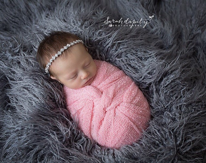 Pink Stretch Knit Wrap AND / OR Silver Rhinestone Bling Headband set for photo shoots, baby girls, newborn photos, by Lil Miss Sweet Pea