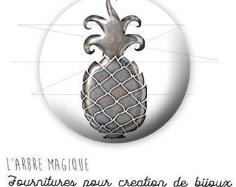 2 cabochons glue 1755 - 14 mm glass silver ref tropical fruit pineapple-