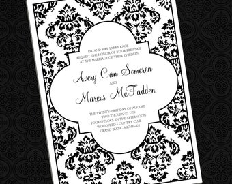 Delightful Damask - Wedding Invitations