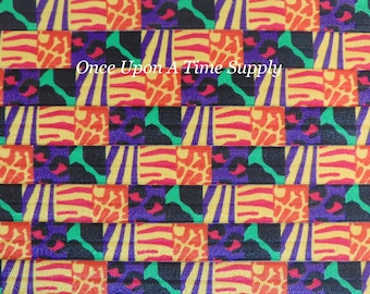 Wild Mixed Animal Prints Fold Over Elastic for Headbands - Up to 5 Yards of 5/8 inch FOE - Bright Color Printed Elastic Sold By The Yard