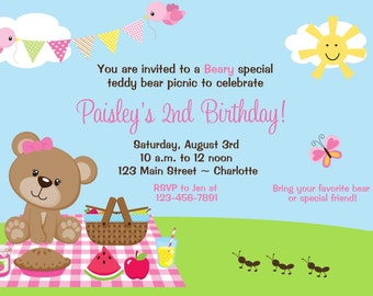 Teddy Bear Picnic  Birthday Party Invitation -- teddy bear picnic -- teddy bear invitation - teddy bear