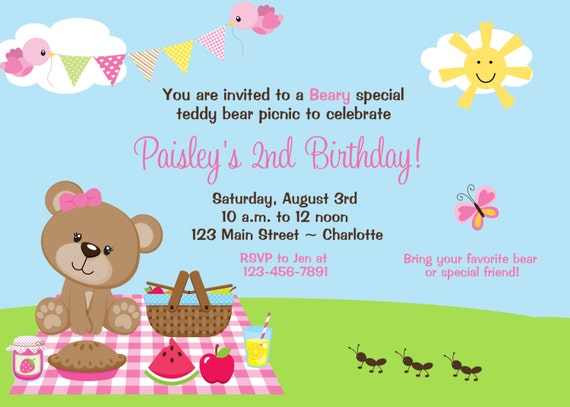 Teddy bear picnic birthday party invitation teddy bear like this item filmwisefo Image collections