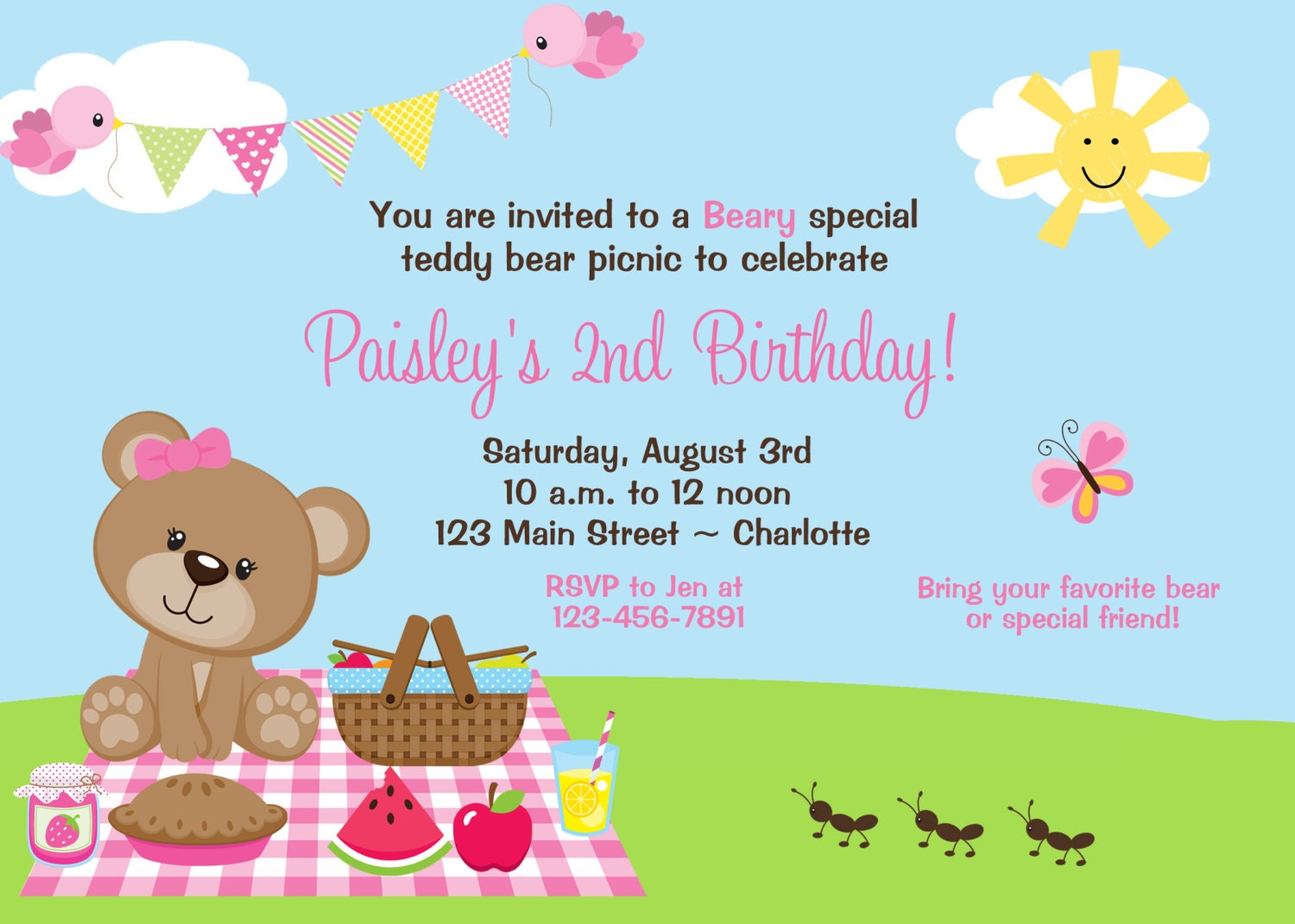 Teddy Bear Picnic Birthday Party Invitation teddy bear