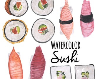 Watercolor Sushi Clip Art illustrations, Sushi Sashimi Nigiri Artwork