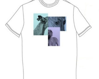 Purple, Green and Blue Greyhound Graphic Short Sleeve T-shirt