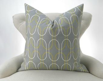 Gray Geometric Pillow Cover -MANY SIZES- Grey & Green Decor, Citrine Green, Off-white/Ecru, Custom Shiba Summerland Premier Prints, FREESHIP
