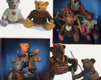 Vintage 1990s 20 inch Bear and Clothing Simplicity 9053 90s Crafts Sewing Pattern UNCUT