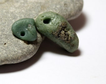 Sea Glass Jewelry Beads- Slag Glass Supplies- Earthy Beading-Drilled Beach Stones-OOAK-Meadow by Allybeans