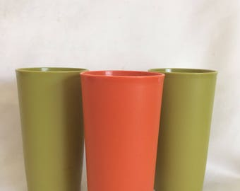 Set of 3 Harvest Color Tupperware Tumblers