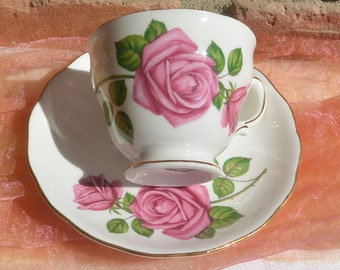 Royal Vale Cup and Saucer -  England, Fine Bone China, Pink Roses - Vintage - Fabulous!