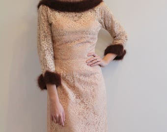 Vintage 1950s - 60s Blush Lace Party Dress with Faux Fur Collar and Cuffs