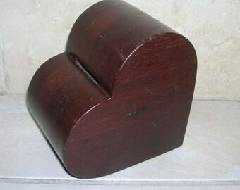 Half Price Sale  Wood Heart Bank