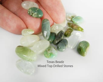 Green Gemstone Bead Mix Top Drilled Beads for Wire Wrapping Large Stone Beads
