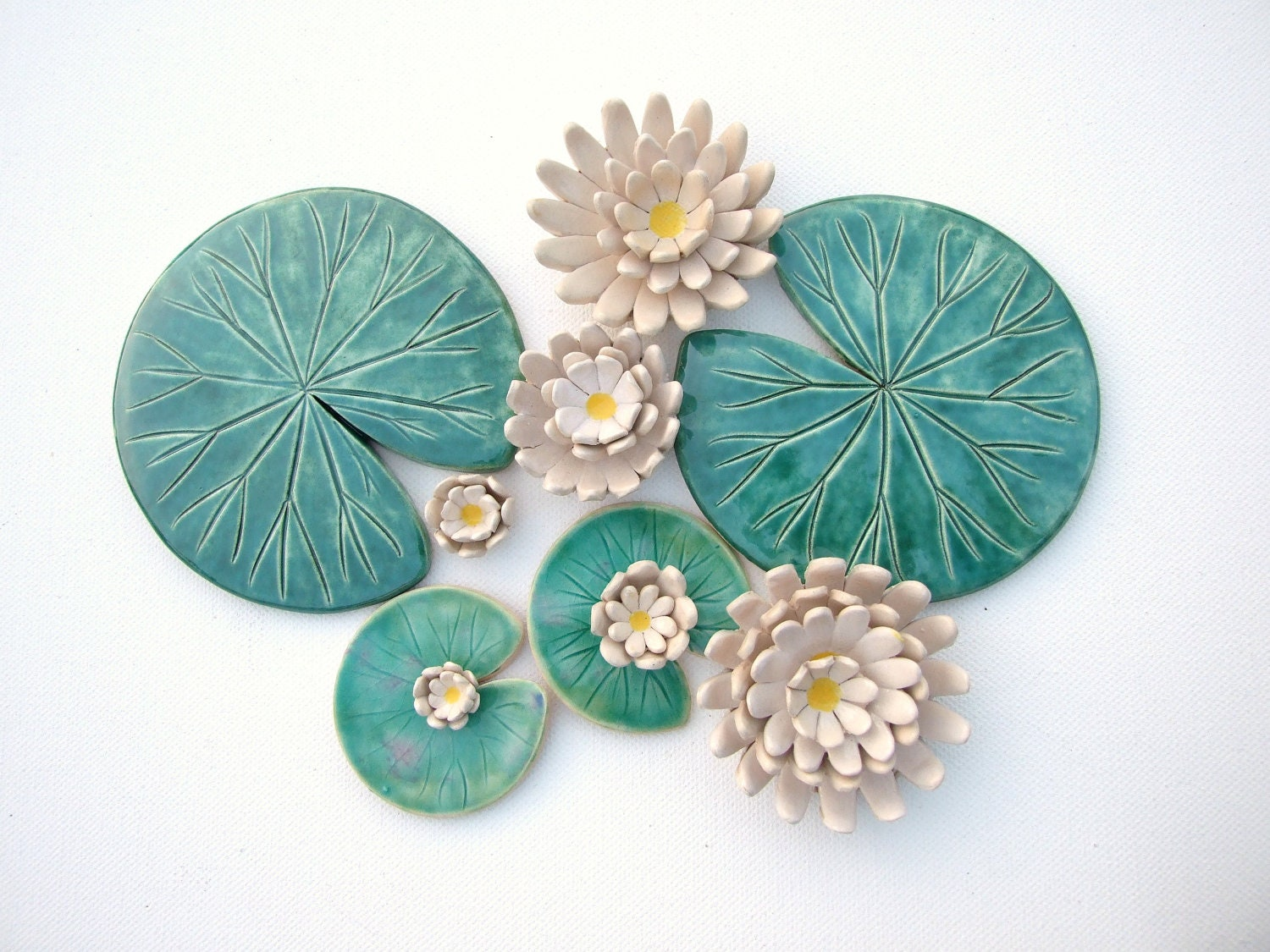 Lily pad coaster Handmade ceramic Waterlily green leaves and - photo#24