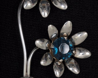 Antique Sterling Brooch with Colbalt Blue Hinged Stones, marked Sterling