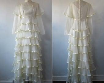 1970s wedding dress   vintage 70s wedding dress   vintage bridal   satin ribbon and ruffles   small   The Make Merriment Wedding Dress