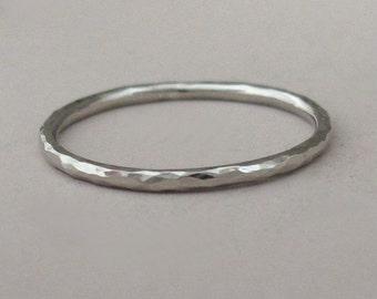 Hand Hammered 14k Palladium White Gold Stacking Ring, 1.3 mm