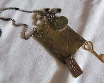 Etched Brass Charm Necklace, simplify, hearts and love vintage charms