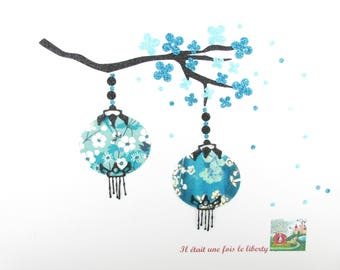 Appliqués thermocollants liberty Lanternes japonaises en tissu liberty Pamela Judith & Mitsi menthe à l'eau
