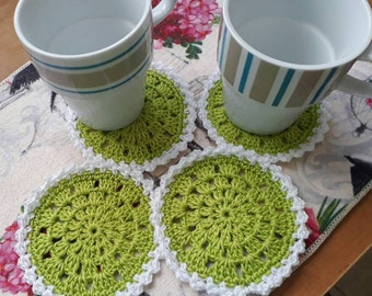 crochet coasters for mugs and glasses,circular coasters in green and white crochet,tea coasters handmade,placemats