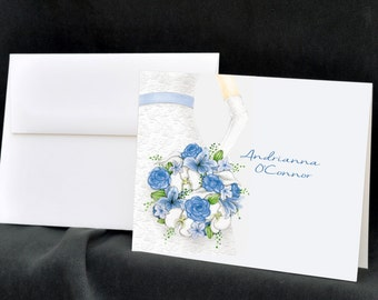 Wedding Dress, Personalized Bridal Shower Note Cards, Stationery, Floral Bouquet, Thank You Cards, Wedding Flowers, Stationary, Notecards