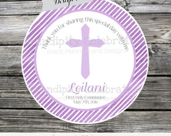 First Communion, Baptism, Confirmation, Religious, Set of 12 Personalized Favor Tags, Stickers, Thank You Tag, Pink purple Watercolor, Cross