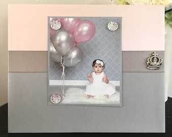 Sweet Princess Little Girl - Nursery Room Baby Shower Handmade Gift Present Home Decor Magnetic Picture Frame Size 9 x 11 Holds 5 x 7 Photo