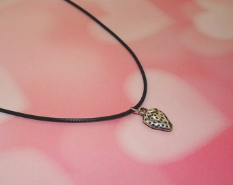 Strawberry Necklace, Strawberry Choker, Kawaii Strawberry Jewelry, Fairy Kei Jewelry, Strawberry Charm Necklace, Pastel Goth Clothing