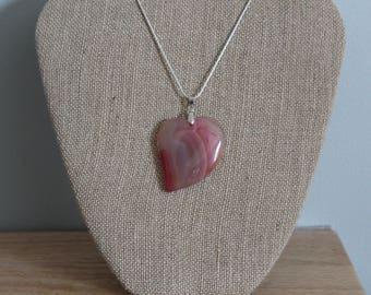 Agate/Onyx Heart Shaped Pendant
