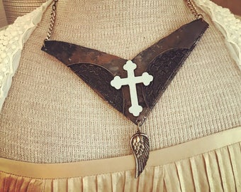 Tough,leather collar necklace . Boho rocker style with 2 kinds of leather . Angel wing.
