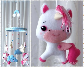Unicorns, Stars and Clouds Hanging Ornament, Baby Mobile, Room or Wall Hanging Decoration, Handmade Home and Holiday Decor