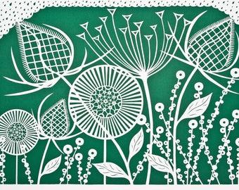 "Handmade art card ""Botanical Pattern Bottle Green"""