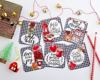 Christmas buffalo check inspired scripture cards set of 6 journaling / bible journaling cards gift tags holiday wrapping