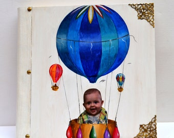 Baby scrapbook, baby album, baby photo album, hand painted album, hot air balloon, customized scrapbook, baby book memories, newborn's gift