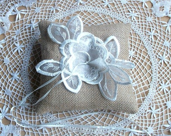 Bearer Pillow/Cushion in Natural Jute Burlap with Embroidered Organza Applique