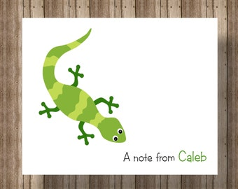 PERSONALIZED NOTECARDS for BOYS /Lizard Chameleon Notecards Boxed Set /Green Reptile Stationery/Set of 10/ Boys Party Lizard Thank You Cards