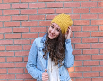Hipster hand-knit beanie