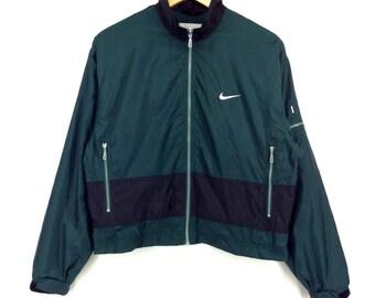 Vintage 90s Nike Jacket Nike Windbreaker Jacket Nike Yellow, White and Grey Color (Retro) Big Logo Spellout Rap Tees Hip Hop Swag