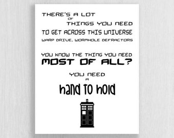 Wall Art Print - Doctor Who Quote - Instant Download - Typography art print, quote print, digital download, black and white print
