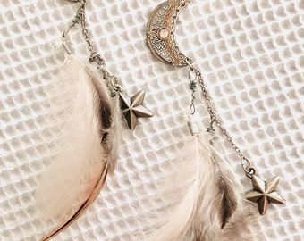 Crescent Moon and Stars Feather Earrings
