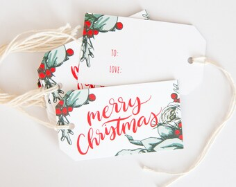 24 Christmas Gift Tags - Holiday Wrapping - Illustrated Christmas Packaging - Woodland Floral