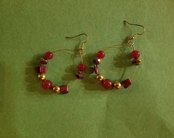 Gold Hoop Earings with Bead Detail