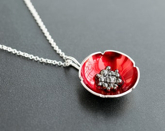 Sterling silver poppy pendant, flower necklace, enamel jewelry, enamel pendant, red flower pendant