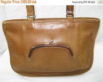 15% SUMMER SALE Genuine vintage COACH Nyc Bonnie Cashin watermelon tan leather brief bag 70s