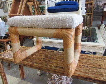 Linen Wrapped Rattan Bench