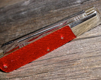 Vintage Parker Cut Co One Arm Pillbuster 2 Blade Pocket Knife w/ Red Glitter Celluloid Handles
