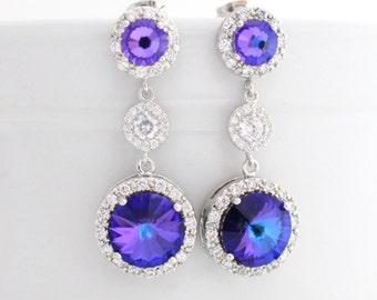 Purple Earrings,  Purple Bridal Earrings, Purple Wedding Earrings, Purple Bridal Jewelry, Heliotrope Swarovski Crystal Earrings Long Wedding
